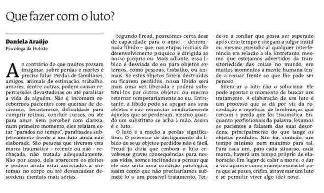 artigo da psicóloga Daniela Araújo no Jornal Atarde