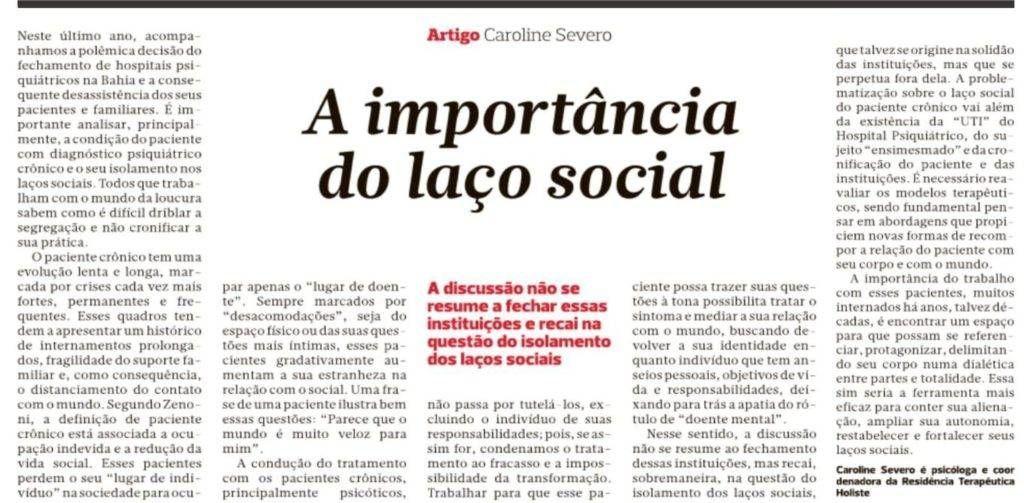 A psicóloga Caroline Severo fala sobre a importância dos laços sociais
