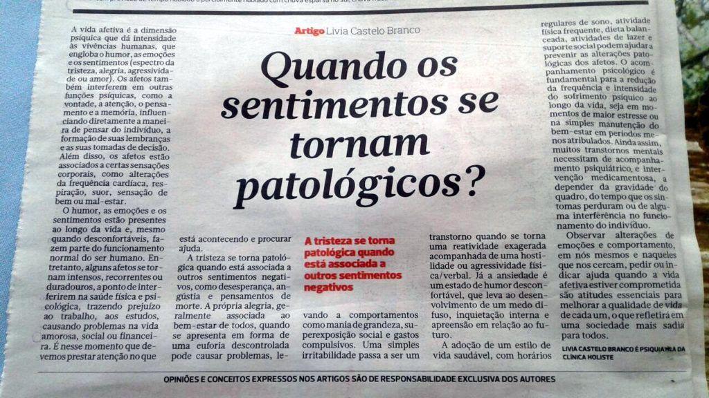 Artigo da psiquiatra Livia Castelo Branco no Correio