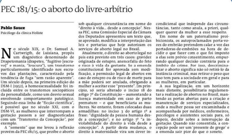 Artigo publicado no Jornal ATarde sobre a proibição do aborto (09/01/2018)