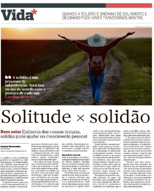 Matéria sobre Solidão no Jornal Correio