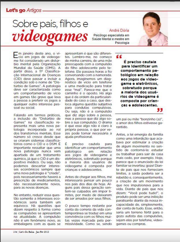 Distúrbio de Games - Artigo André Dória