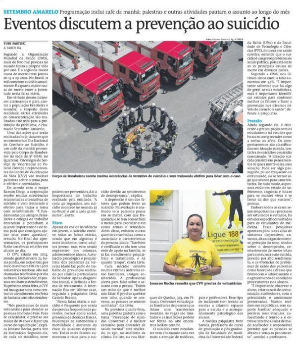 Matéria do Jornal A Tarde, 09 de setembro